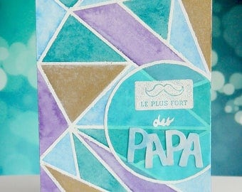 Geometric & watercolor father's Day card