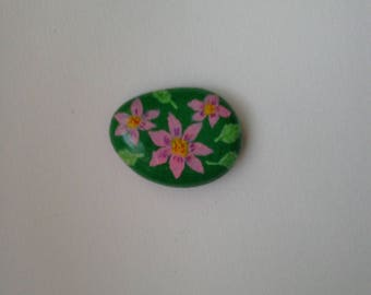 pink , flowers, painted stone