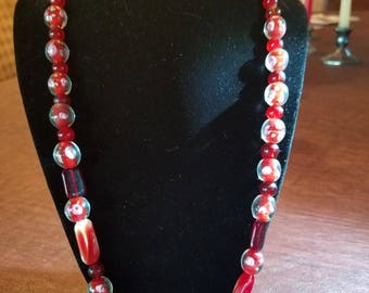 Red Lampwork bead 21 plus inches with smaller round beads