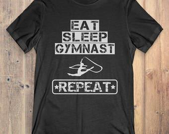 Gymnastics T-Shirt Gift: Eat Sleep Gymnast Repeat