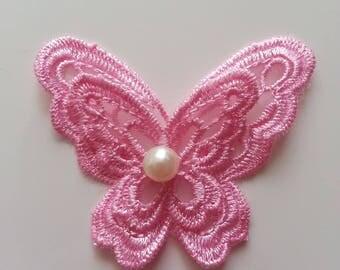 double papillon en dentelle rose 65mm