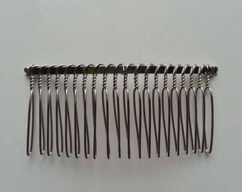 peigne à chignon à décorer en métal argenté 80*35mm