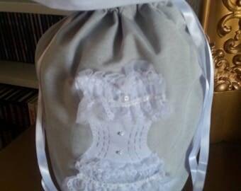 Lingerie bag handmade chic Pearl gray