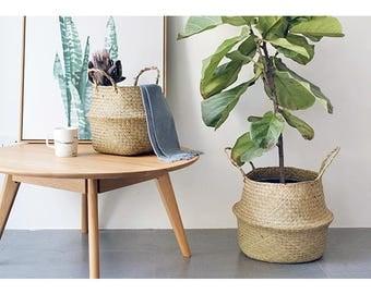 Large Planter Basket, Belly Basket, Seagrass Basket,Plant Holder,Home Decor, Tote Belly Basket, Laundry Basket, Hamper Toy Storage Organizer