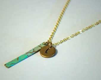 Round Gold Initial Necklace Turquoise charm Vintage Mom Jewelry Personalize Blank Hand Stamp