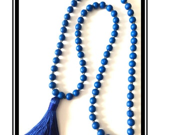 Blue tassel necklace, natural wooden beads & Blue Blue Crystal pearls, multicolor Bohemian boho necklace Blue crystalTassel