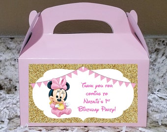 SALE! 12+ Labels Or Boxes & Labels 12 Baby Minnie Mouse Treat Boxes, Minnie Mouse Gable Boxes, Minnie Mouse Candy Boxes, Minnie Mouse Party