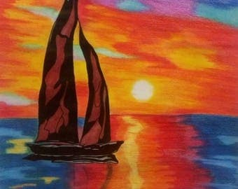 Boat on Water Sunset Design
