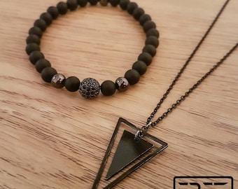Minimalist mens necklace, black mens necklace, mens jewelry set, triangle necklace, onyx beaded bracelet