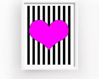 Heart Poster, Heart Romantic Gift, Heart Geometric Prints, Heart Bedroom Wall Decor, Love Printable, Heart Print | Home Decor, Popular Gifts