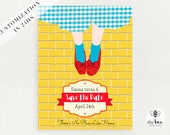 Wizard of Oz save the date, Dorothy red shoes, Follow the yellow brick wall, customized in 24hs