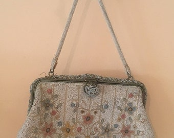 vintage beaded floral purse/bag- Saved to Yael Aviv! Do not buy this item!
