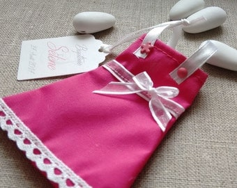 set of 10 small dresses fuschia and white - containing sweets - baptism or wedding