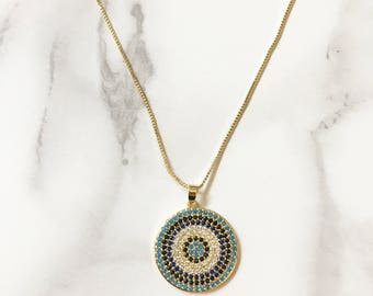 Zircon Disk Necklace, Evil Eye Necklace, Turquoise Necklace, Circle Charm, Pave Disk Necklace, Pendant Necklace