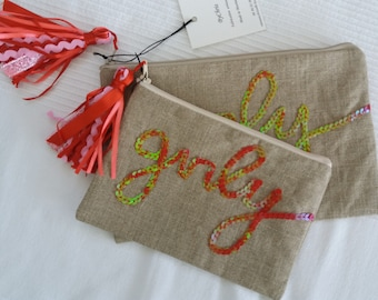 """""""Girly"""" raw linen pouch"""