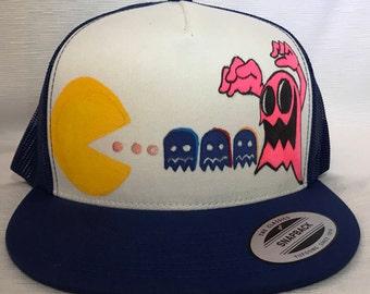 Pacman Custom Trucker Hat Retro Gaming Gamer Hat