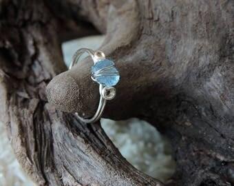 Rough Aquamarine Wire Wrap Ring