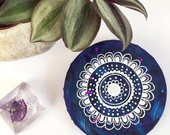 Blue Original 10cm Mandala Flower Canvas