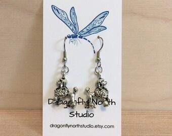 Poodle earrings - dog breed earrings - dog earrings - antiqued silver earrings