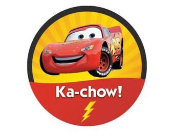 Lightning McQueen Ka-Chow Button - Cars Button - Cars Party Favors - Race Car Button - Race Car Party - Disney Park Button - Theme Park Pin