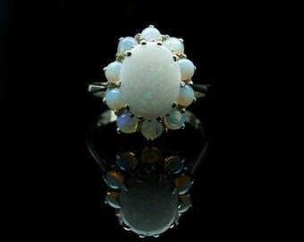 Vintage Opal Cluster Halo Ring 14k Gold