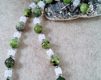 Gemstone necklace made of serpentine, rock crystal and Hematite - 925 Silver