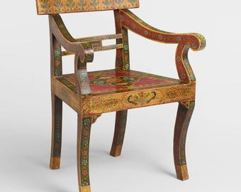 Charming India Chair, Boho Chair, Wood Dining Chair, Oriental Chair, Oriental  Furniture,