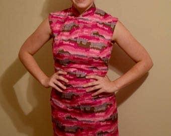 "1960s Vintage Pink Silk Mod Geometric Print Handmade Chinoise Dress// Waist 27"""