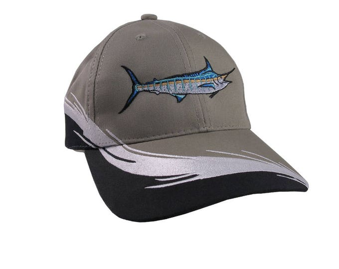 Blue Marlin Fish and I'd Rather Be Fishing Embroidery Decoration on Adjustable Structured Grey White and Black Sporty Fashion Baseball Cap