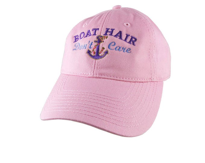 Nautical Anchor Boat Hair Don't Care Embroidery on an Adjustable Pink Unstructured Baseball Cap with Option to Personalize the Back