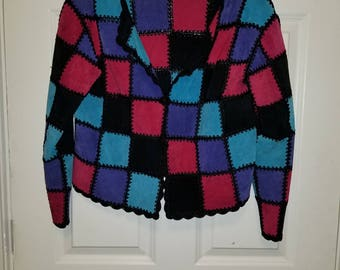 Leather Multicolored Stitched Jacket