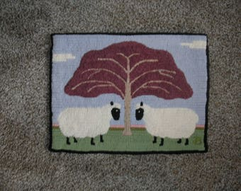 The Red Tree, Primitive Hooked Rug Small Rug/Mat