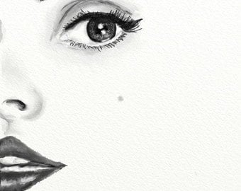 1950s inspired, Lana Del Ray, close up, portrait, black and white, digital art, print, digital instant download