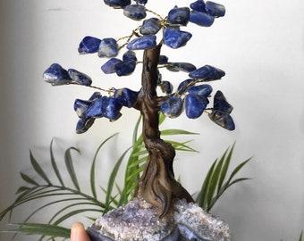Sodalite bonsai tree on Amethyst base