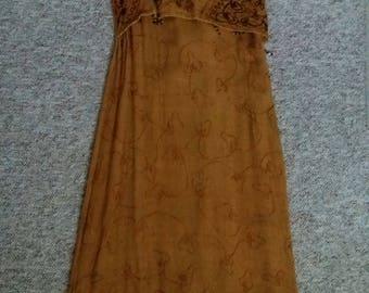 Vintage Brown Embellished Hippie Maxi Dress