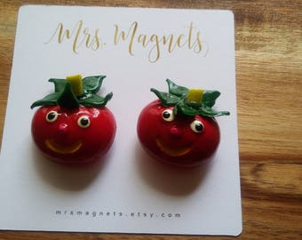 Happy Tomato Magnets Set of 2 - kitchen refrigerator magnets, office magnets, teacher gift, hostess gift