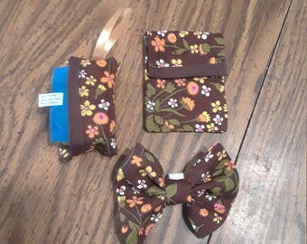 Small Dog bow with doggie poop pick up carrier bag and training treat bag