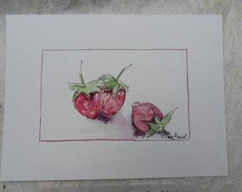 watercolor rustic original strawberries