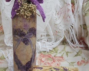 Handmade Vintage Style Decoupage Glass Bottle With Wooden Box - Home Decor