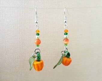 Glass Pumpkin Earrings, Halloween Earrings, Autumn Earrings, Thanksgiving Earrings