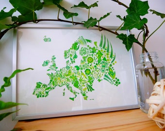 Poster / Poster map art of Europe / green plants / Table A3 or A4 / graphics