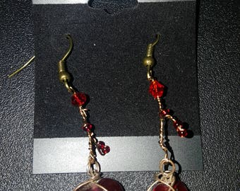 LID Enterprises, Hand Crafted Earrings, Red Wire