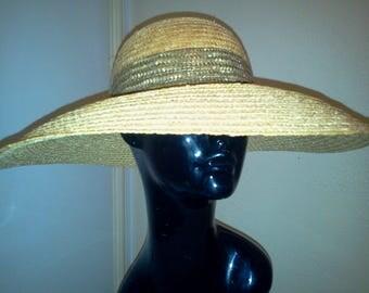 Vintage 1980's Straw Wide Brim Hat by Liz Claiborne