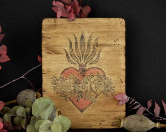 Sacred Heart - wood - old engraving