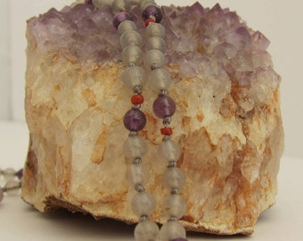 Gray Agate-Amethyst-Coral Wrap Necklace - Genuine Gemstones & Pure Silk Thread