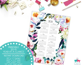 Year-at-a-Glance 2019 | Boho Peonies Flowers | Digital | Instant Download | Printable