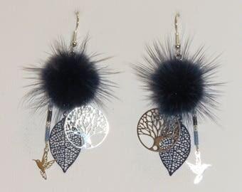 """Navy Blue tassel earrings, earrings, fine leaves print, tree of life, birds, """"Poumpoumpidou earrings"""""""