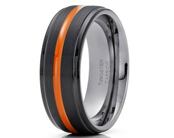 Orange Tungsten Wedding Band Men & Women Tungsten Wedding Ring Black Tungsten Ring Anniversary Band 8mm