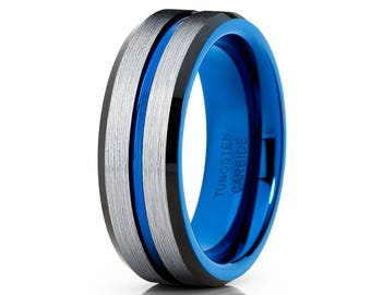 Blue Tungsten Wedding Band Silver Brush Tungsten Ring Men & Women Black Tungsten Ring Anniversary Tungsten Ring Comfort Fit