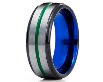 Green Tungsten Wedding Band Black Tungsten Ring Men & Women Gray Tungsten Ring Blue Tungsten Carbide Ring Comfort Fit